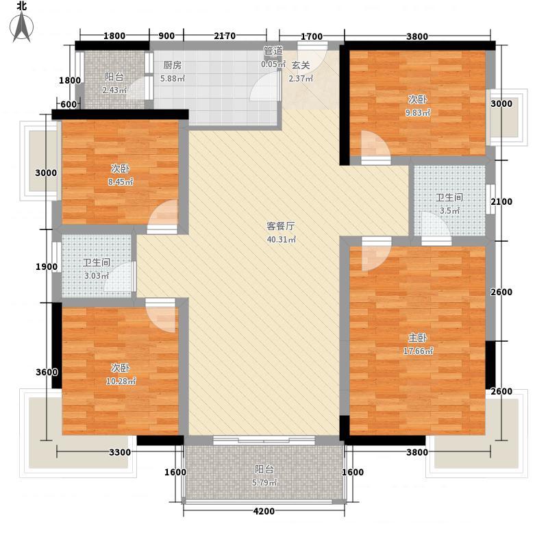 保利狮子湖136.00㎡一期14号楼洋房标准层GD3户型4室2厅2卫1厨