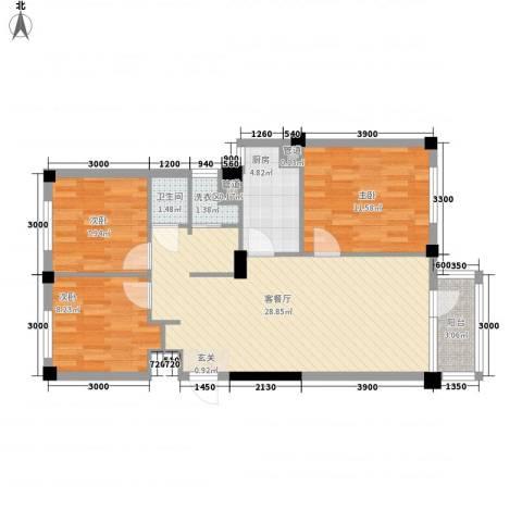 国民院子3室1厅1卫1厨87.00㎡户型图