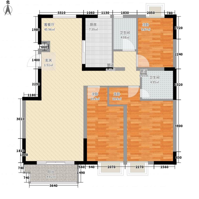 江南文枢苑135.00㎡I户型3室2厅2卫