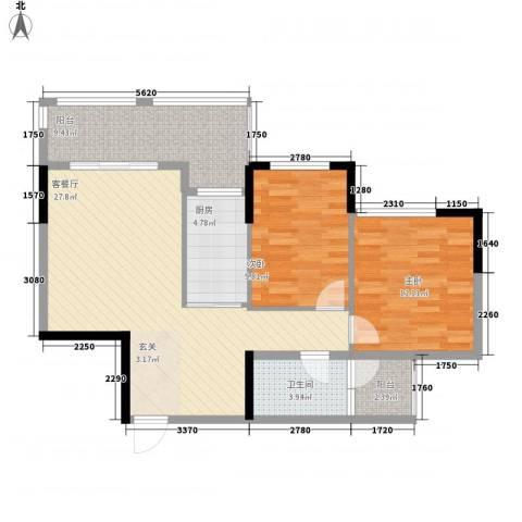 坤龙西城国阙2室1厅1卫1厨99.00㎡户型图