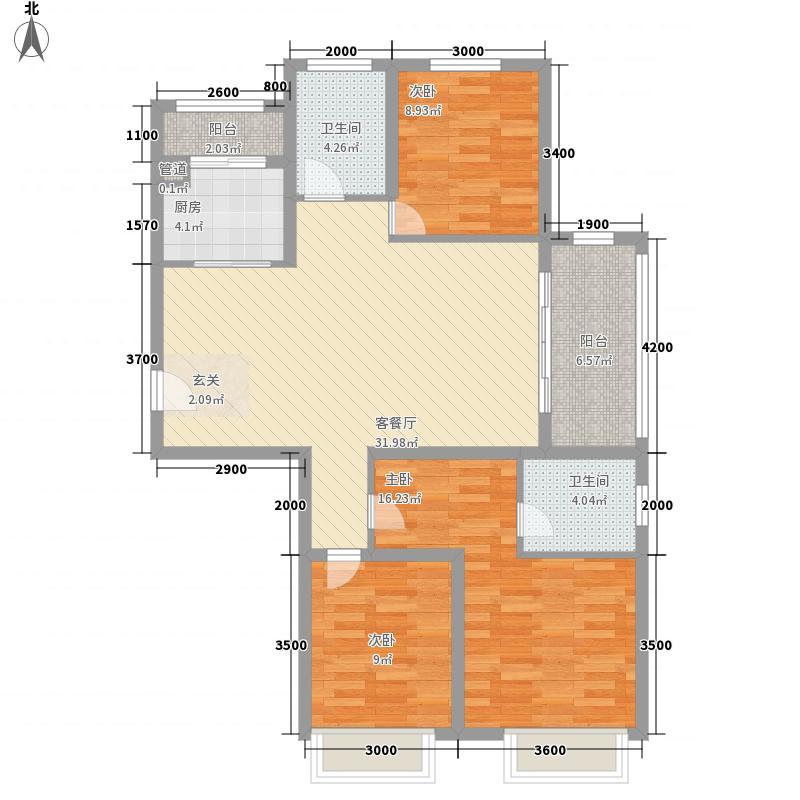 绿宸万华城3室1厅2卫1厨87.25㎡户型图
