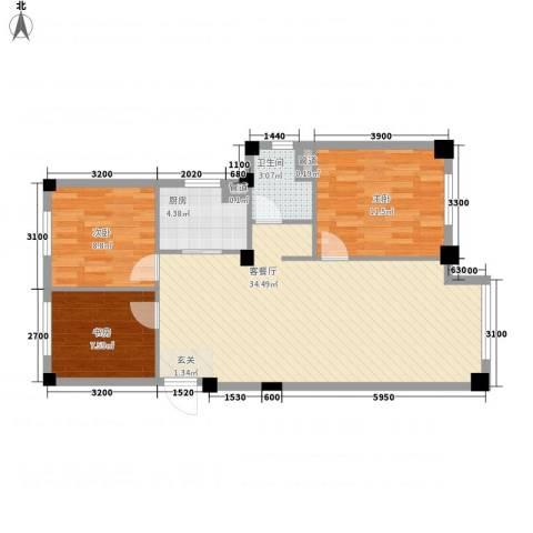 国民院子3室1厅1卫1厨70.22㎡户型图
