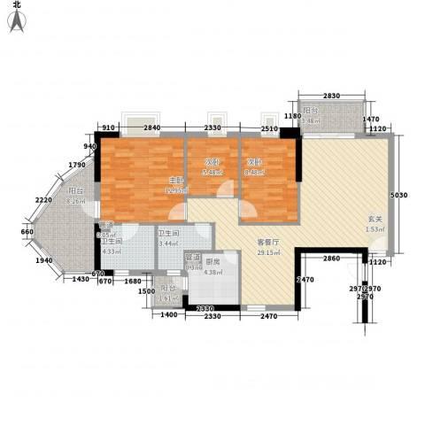 世纪云顶雅苑3室1厅2卫1厨119.00㎡户型图