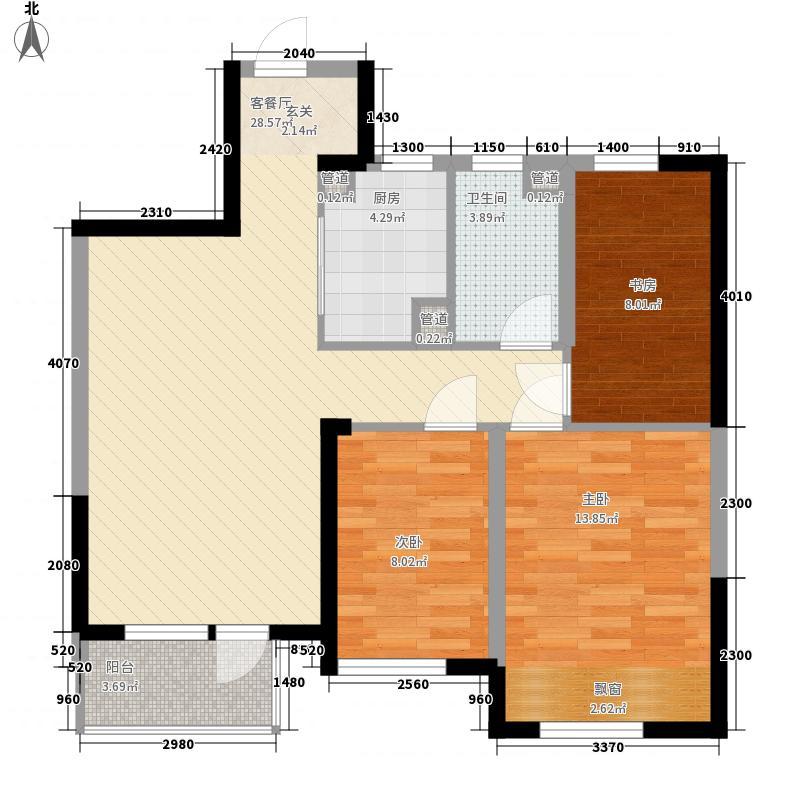 中铁万科香湖盛景3室1厅1卫1厨70.80㎡户型图
