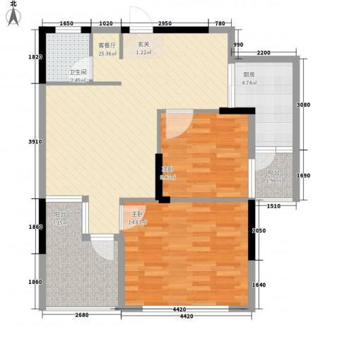 坤龙西城国阙2室1厅1卫1厨92.00㎡户型图