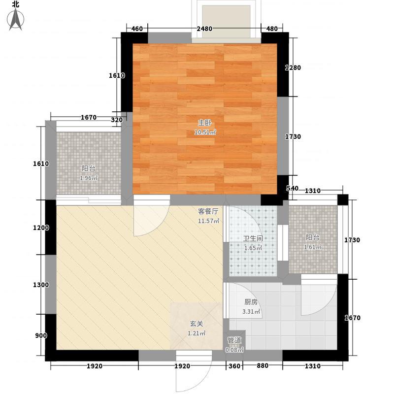 坪山首座1室1厅1卫1厨47.00㎡户型图