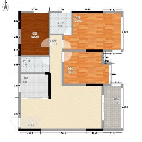 坤龙西城国阙3室1厅2卫1厨125.00㎡户型图