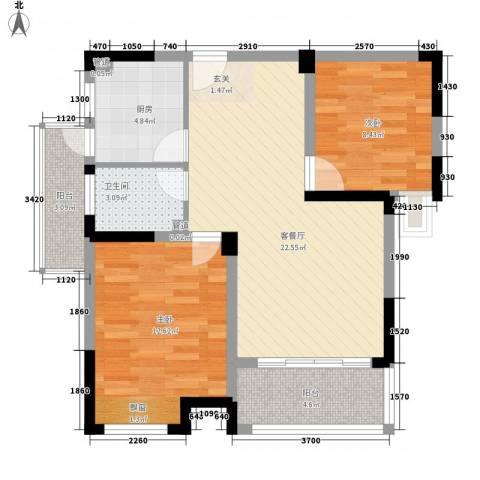 八一小区2室1厅1卫1厨86.00㎡户型图