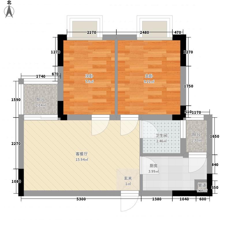坪山首座6.00㎡B户型2室2厅1卫1厨