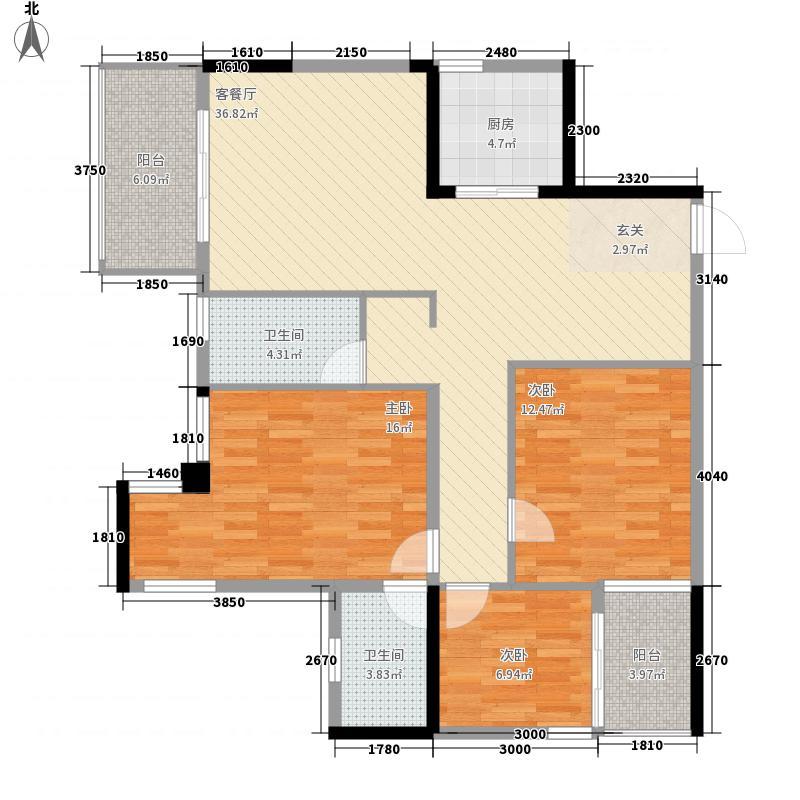 坤龙西城国阙3室1厅2卫1厨134.00㎡户型图