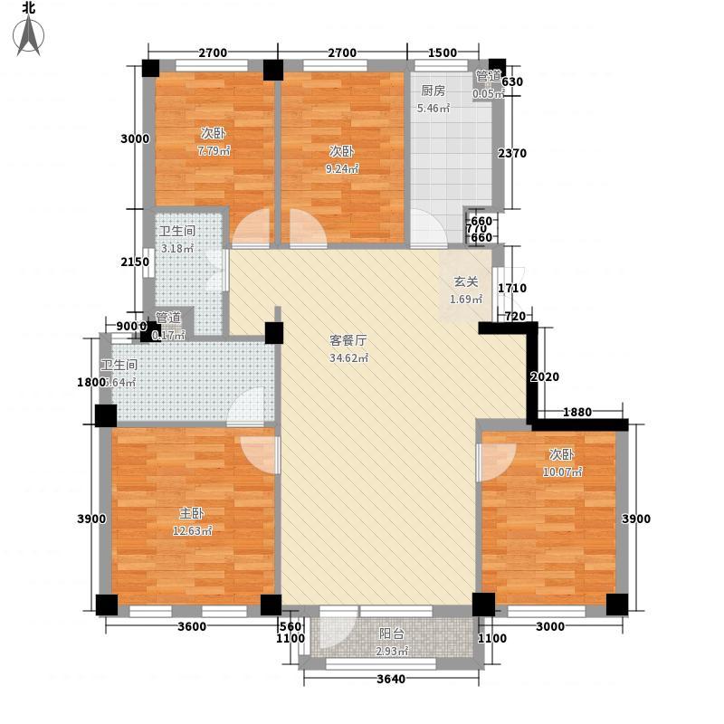 国民院子4室1厅2卫1厨117.00㎡户型图