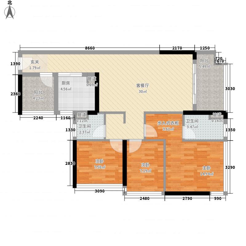 万科魅力之城3室1厅2卫1厨116.00㎡户型图