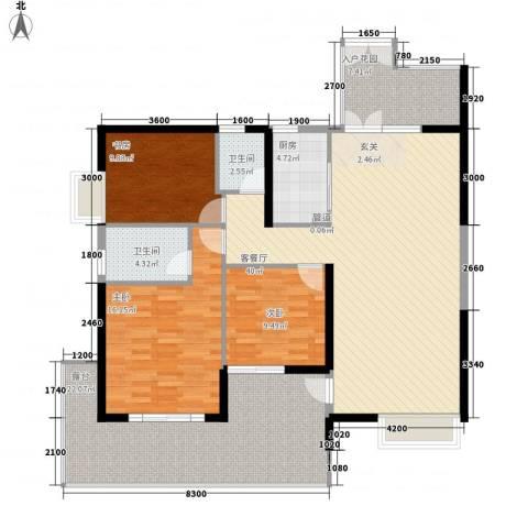 江南一品3室1厅2卫1厨162.00㎡户型图