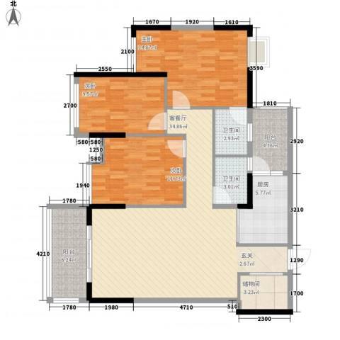 坤龙西城国阙3室1厅2卫1厨136.00㎡户型图