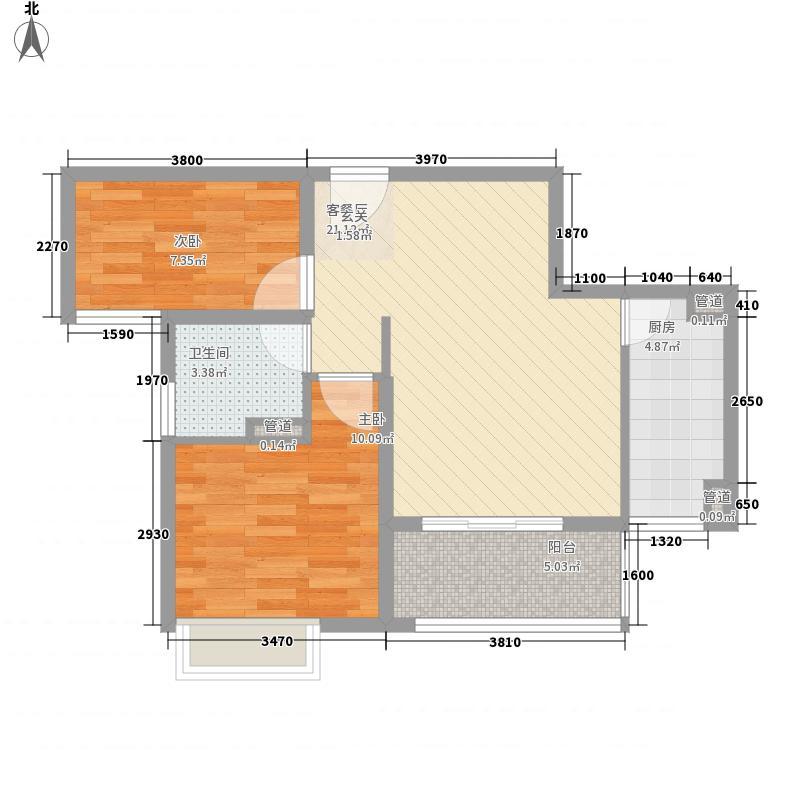富力桃园75.00㎡A户型2室2厅1卫1厨