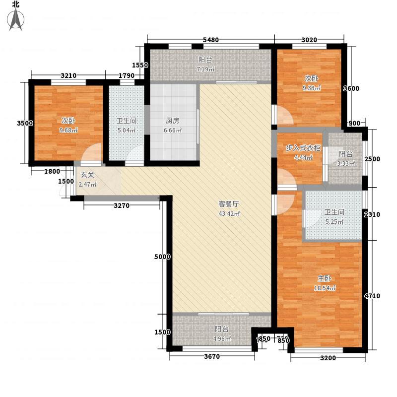 阅海湾新华联广场141.38㎡B1户型3室2厅2卫1厨