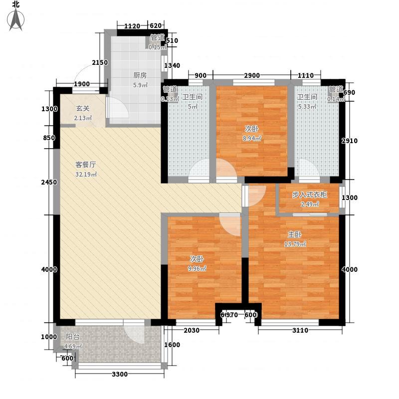 沈阳中航城・两河流域3室1厅2卫1厨128.00㎡户型图