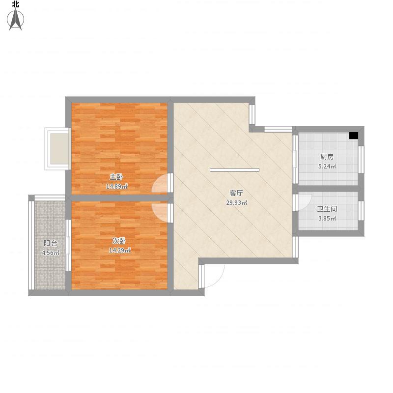 谭桥公寓90平方户型三房两厅一卫