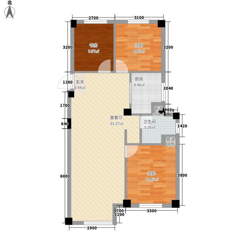 国民院子5.00㎡如院1号楼户型3室2厅2卫1厨