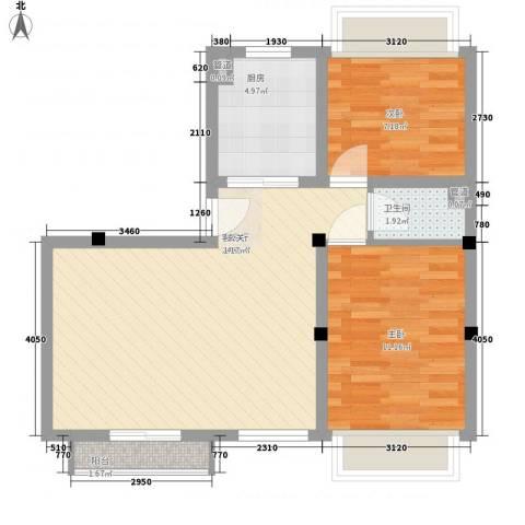 香槟水郡2室1厅1卫1厨75.00㎡户型图