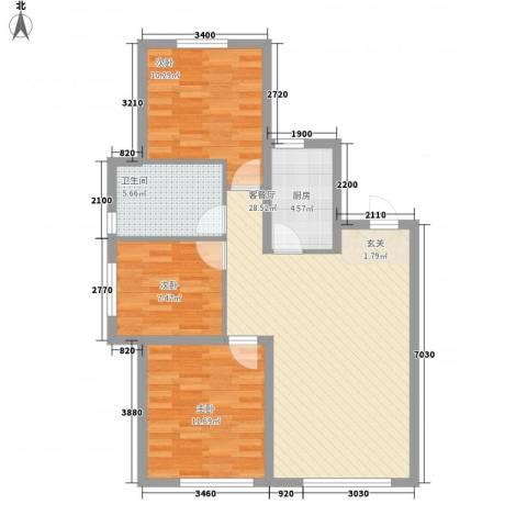 华润凯旋门3室1厅1卫1厨77.03㎡户型图