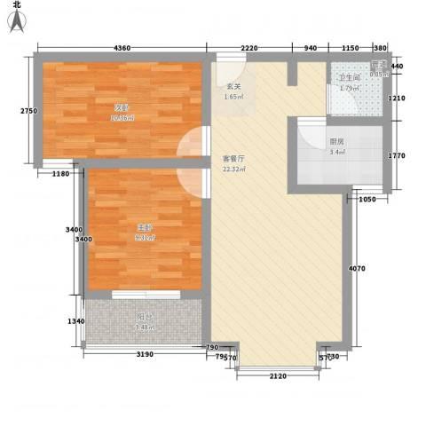 福馨景苑2室1厅1卫1厨59.17㎡户型图