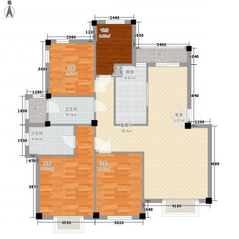 香榭丽舍4室1厅2卫1厨137.00㎡户型图