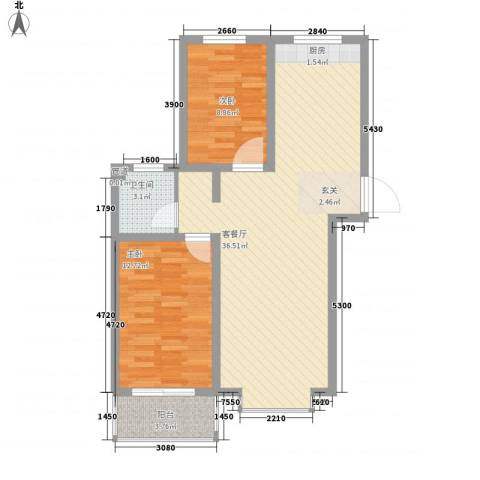 福馨景苑2室1厅1卫0厨73.77㎡户型图
