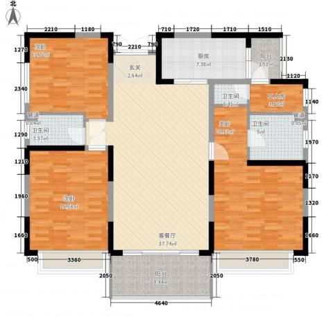 恒大绿洲3室1厅3卫1厨167.00㎡户型图