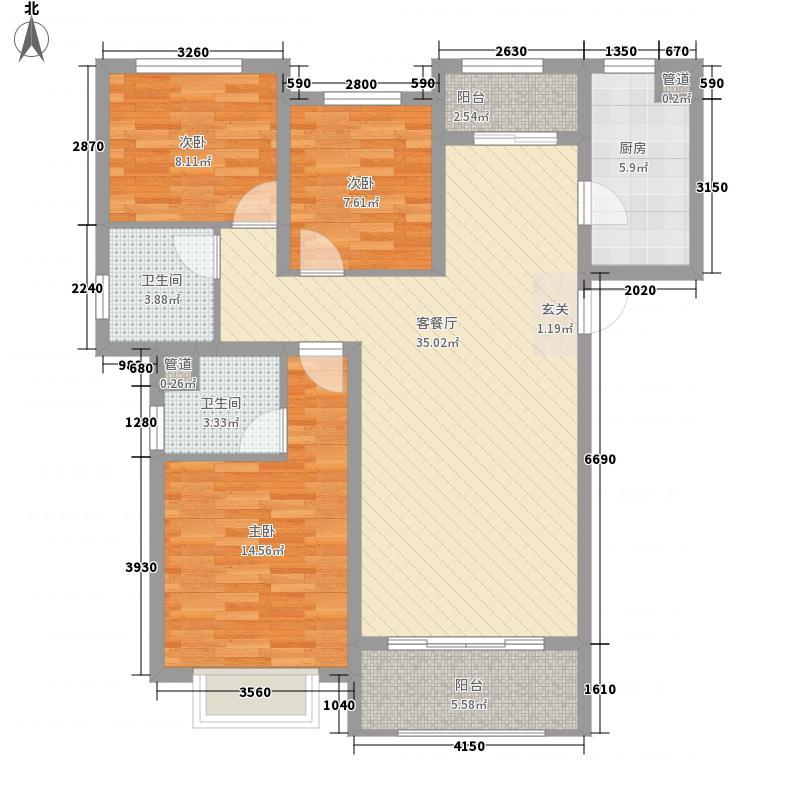 祥隆万象城3室1厅2卫1厨125.00㎡户型图
