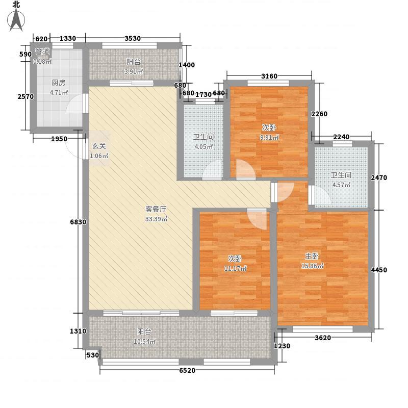 祥隆万象城3室1厅2卫1厨139.00㎡户型图