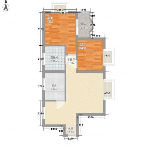 富都广场2室1厅1卫1厨78.00㎡户型图