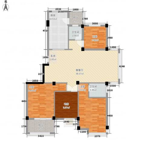 天赐佳园4室1厅2卫1厨138.00㎡户型图