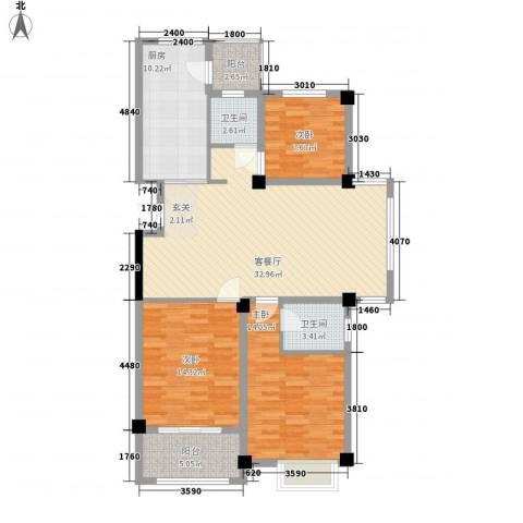 天赐佳园3室1厅2卫1厨92.93㎡户型图