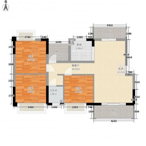 娱乐城3室1厅1卫1厨111.00㎡户型图