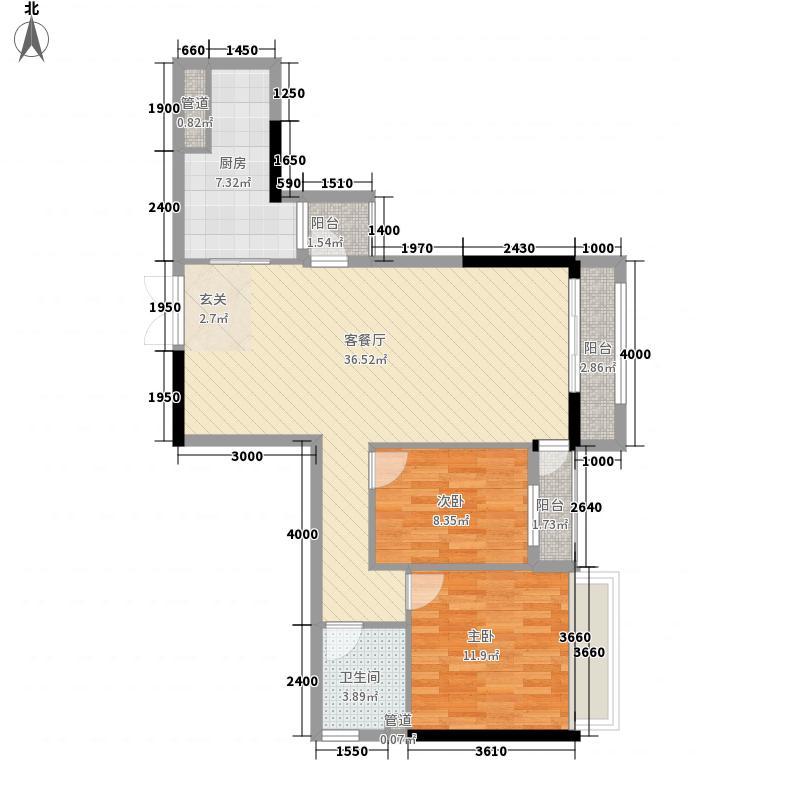 金地京汉1903A栋B2户型1室2厅1卫1厨