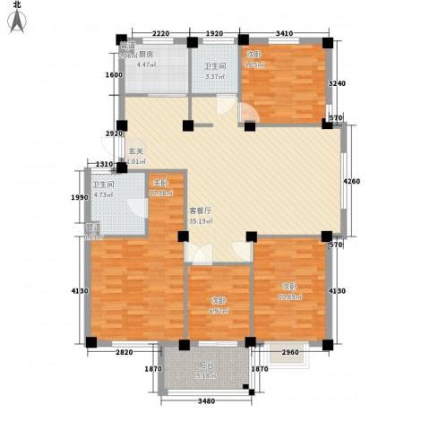 中翠家园4室1厅2卫1厨137.00㎡户型图