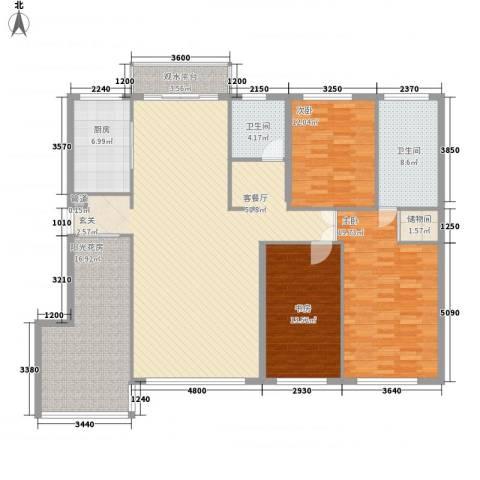 广海大厦3室1厅2卫1厨192.00㎡户型图