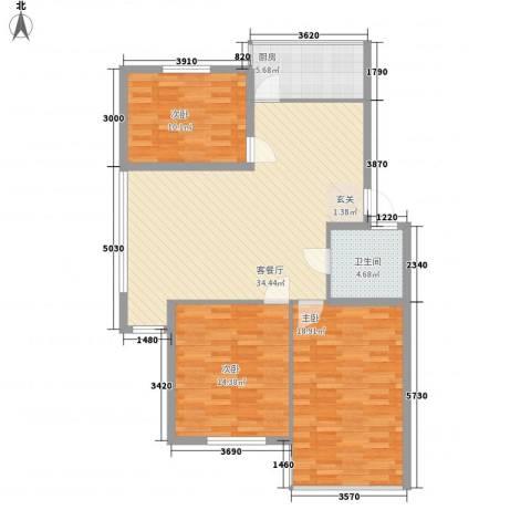东方苑雅阁3室1厅1卫1厨115.00㎡户型图