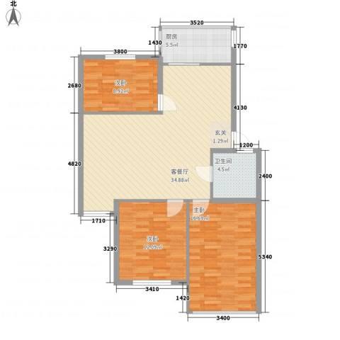 东方苑雅阁3室1厅1卫1厨82.57㎡户型图