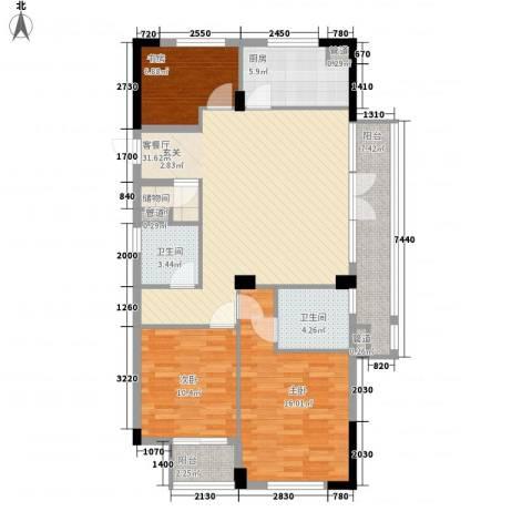 朝阳门公寓3室1厅2卫1厨129.00㎡户型图