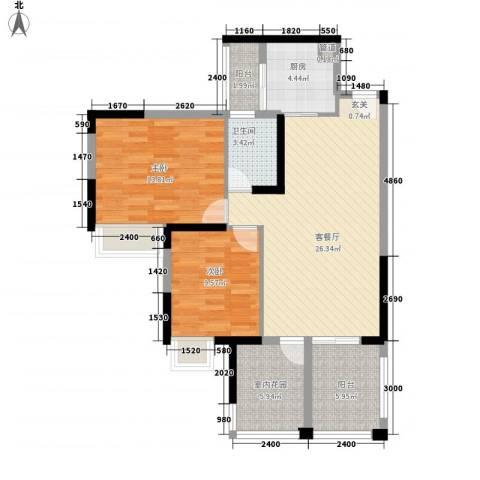 世纪城幸福公馆2室1厅1卫1厨103.00㎡户型图