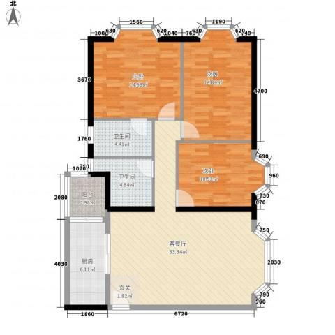 康云明居3室1厅2卫1厨129.00㎡户型图