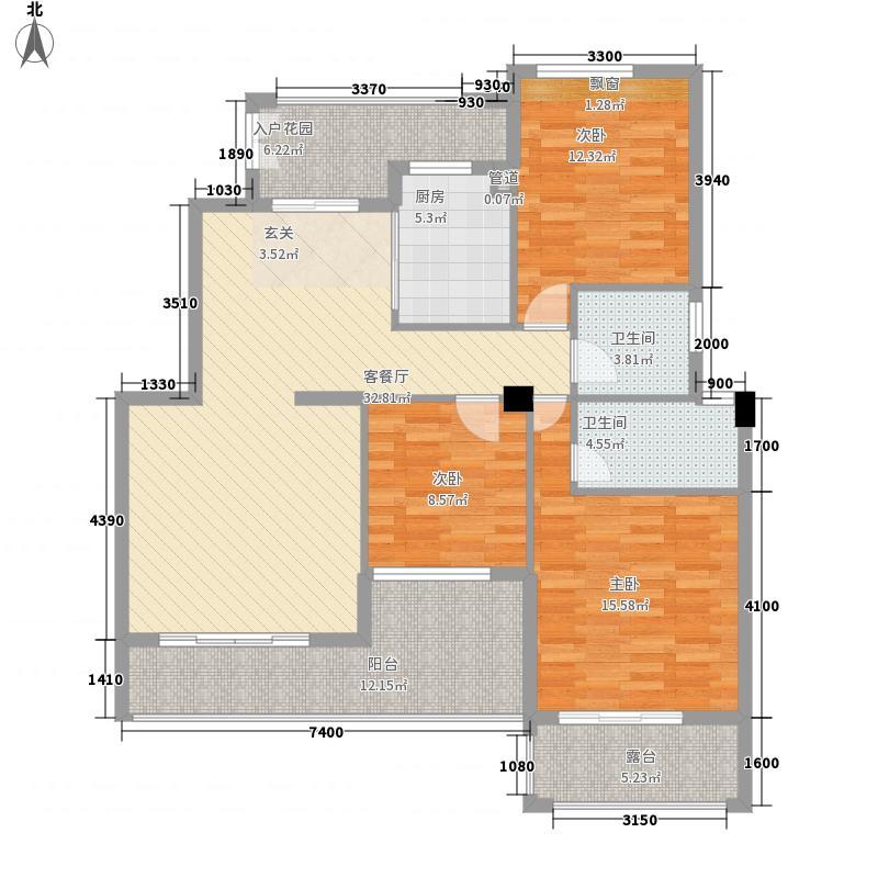 御景湾11.60㎡17#B1户型3室2厅2卫1厨