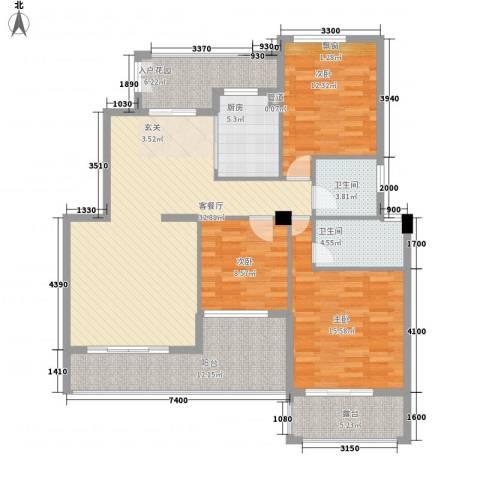 御景湾3室1厅2卫1厨106.62㎡户型图