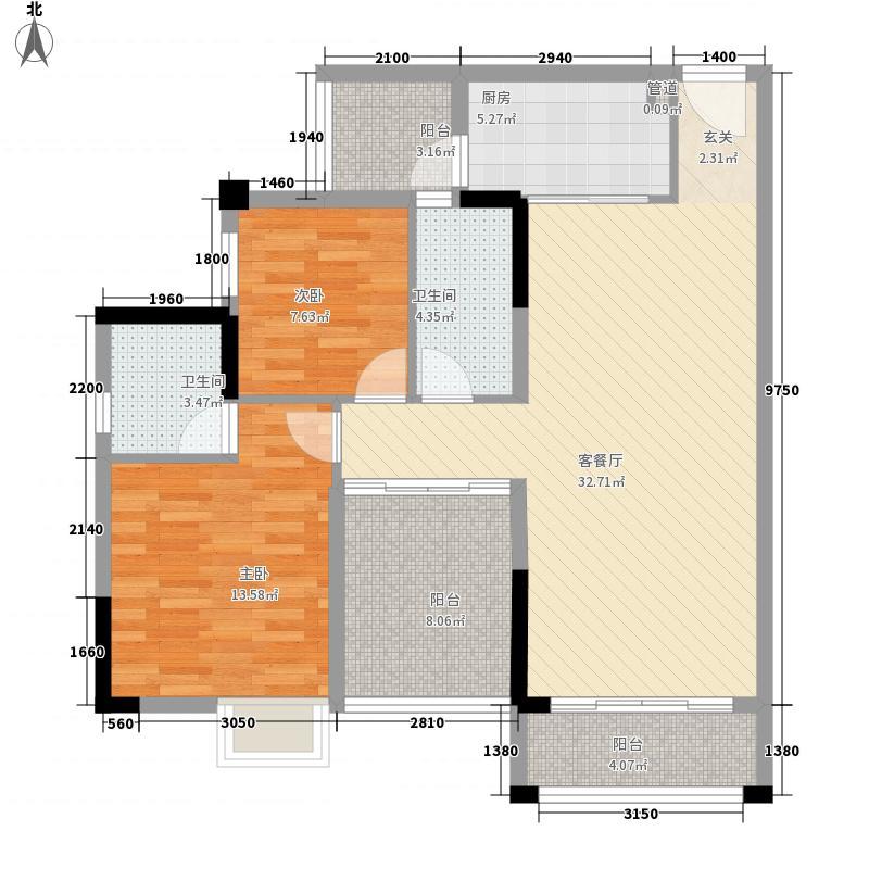 碧湖湾8.00㎡1、4、6座01、06户型3室2厅2卫1厨