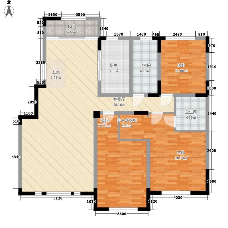 源山别院3室1厅2卫1厨170.00㎡户型图