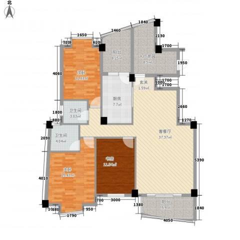 金福商厦3室1厅2卫1厨158.00㎡户型图