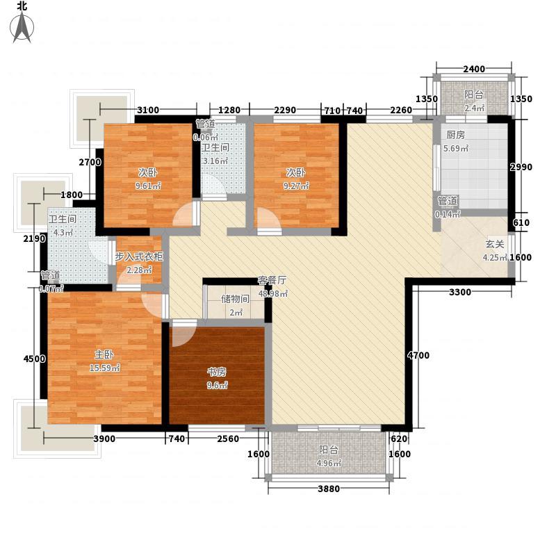 假日花城4室1厅2卫1厨118.13㎡户型图