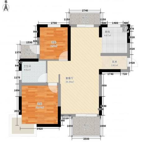金水湾花园2室1厅1卫0厨91.00㎡户型图